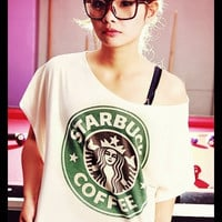 STARBUCKS T-Shirt Crop Top Wide Neck Shirt Antique Off White Women Tee Shirt Free Size Fits For S M L XL