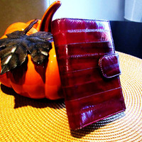 vintage oxblood red eelskin wallet. fall fashion. red leather wallet