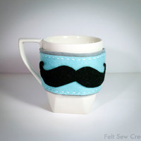 Felt Mustache Coffee Cozy - Accessories Unisex Gift Women Men Starbucks Coffee cup holder