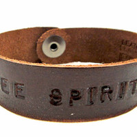 "Brown leather ""FREE SPIRIT"" Petite Cuff by Leather Couture by Jessica Galindo"