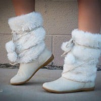 Bumper Whoa-11 Furry Pom Pom Boot (Beige) - Shoes 4 U Las Vegas
