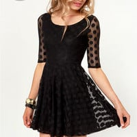 LULUS Exclusive Duke of Twirl Black Polka Dot Lace Dress