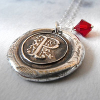 Birthstone Monogram Wax Seal Necklace with Swarovski Crystal Birthstone Charm. Fine Silver Any Letter. Wax Seal Stamped Jewelry