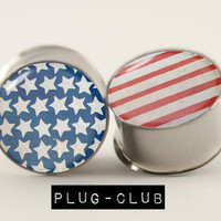 Distressed Flag Plugs by Plug-Club