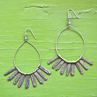 Marietta Earrings Silver - $158: Gorgeous and funky artisan made Ethiopian silver paddle hoop earrings.