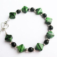 Striking Green and Black Bracelet - with Black and Silver Spacers