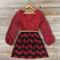 Winters Tale Chevron Dress, Sweet Women&#x27;s Bohemian Clothing