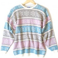 Shop Now! Ugly Sweaters: Vintage 80s Pastel Sparkle Snowflakes Oversized Slouch Acrylic Ugly Sweater Women's Size Large (L) $20 - The Ugly Sweater Shop