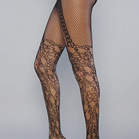The Filigree Garter Net Tight in Black : Karmaloop.com - Global Concrete Culture