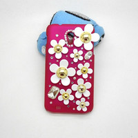 Handmade hard case for samsung galaxy s2 epic 4g touch: Bling cute flowers (white case)