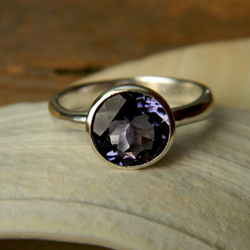 Iolite Gemstone Ring in Sterling Silver by onegarnetgirl on Etsy