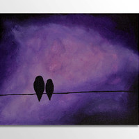 Birds on a Wire 8x10 Original Painting, Bird Art, Bird Painting, Silhouette, Purple & Black, Nature Decor, Wall Art