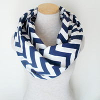 Navy Blue and White Chevron Infinity Skinny Scarf