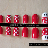 Mario Red Mushroom Nail Art Set
