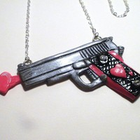 Love Gun-- Polymer Clay Necklace