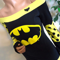 Yellow Batman Off Shoulder Top (Small)