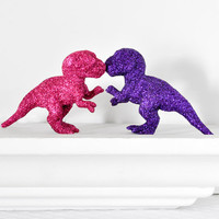 Baby T-Rex Dinosaurs in Fuchsia Hot Pink, Grape Purple Glitter Baby Shower Table Settings, Girly Girl Nursery Decor or Fun Home Decorations