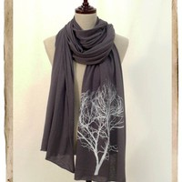 Screenprinted Long Jersy Scarf - Tree, DARK GREY