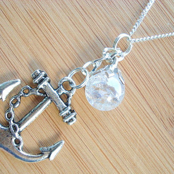 Nautical Anchor Crystal Crackle Glass Marble Necklace