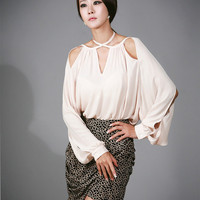 YESSTYLE: Nabi- Cutout-Accent Blouse - Free International Shipping on orders over &amp;#36;150