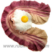 Felted bacon scarf with fried egg brooch