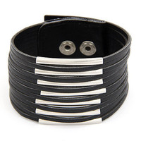Cool Black Faux Leather Multi Layered Bangle Bracelet wholesale