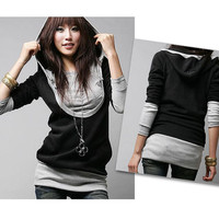 Fashion Autumn Women Long Sleeve Cotton Casual Top Dress Hoodies Coat Pullover