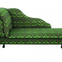 Green Peacock Feather Print Chaise Longue from Zedhead  | Made By Zedhead Designs | 575.00 | Bouf