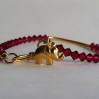 Lucky Elephant Charm Bracelet, Ruby.. on Luulla