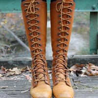 Vintage 70&#x27;s Brown Leather Lace Up Boots