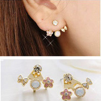 Fashion Korean Lovely Style Rhinestone Butterfly Flower Mounted Stud Earring