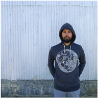 Mens hoodie - full moon screenprint on heather black eco-fleece sweatshirts - S/M/L/XL - winter fashion - mens sweatshirt