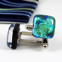 Dichroic Glass Herringbone Cufflinks, Yellow Gold and Green, Handmade