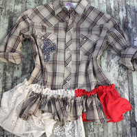 Women&#x27;s plaid ruffle shirt, country western wear, rustic country chic, shabby lace, cottage clothing, true rebel clothing, winter