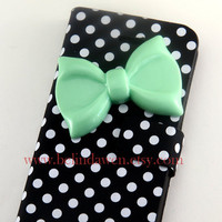 Iphone 5 Case, bow iphone 5 case, mint green bow, white dot black pu leather iPhone 5 Case, case for iphone 5