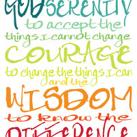 Serenity Prayer Quote - 8x10 or 8x8 Canvas Textured Art PRINT - Colorful Bright Rainbow Typography - Made by artstudio54 on ETSY