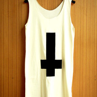 CROSS T Shirts Tank Top sleeveless Top Blouse cream beige color screen handmade 3 colors