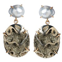 Greenwich Jewelers | Products | Category | Earrings | Melissa Joy Manning Tahitian Pearl and Pyritized Ammonite Earrings