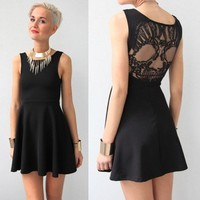 GRUNGE ROCK FESTIVAL SHEER MESH SKULL BACK BACKLESS SKATER DRESS 6 8 10 12