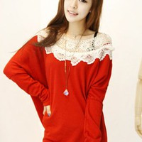 Knitting Vintage Big Collar Dolman Sleeve Sweater  -  BuyTrends.com