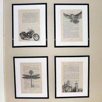 Harry Potter book page art - Upcycled book page art prints - Home decor - Great for framing - Buy 3 get 1 free