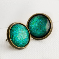 Mermaid Tears Post Earrings in Antique Bronze