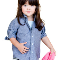 Kids Chambray Long Sleeve Button-Up Shirt | Shop American Apparel