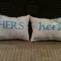 Hers & Hers Decorative Pillows by kendallxo on Etsy