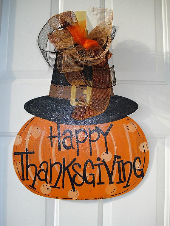 Happy thanksgiving pumpkin with pilgram from merrymerchant on Happy thanksgiving decorations