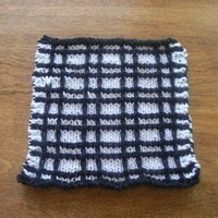 Hand Knit Black and White Playful Plaid Dishcloth or Washcloth