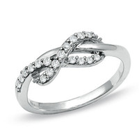 1/4 CT. T.W. Diamond Infinity Ring in 10K White Gold - View All Rings - Zales