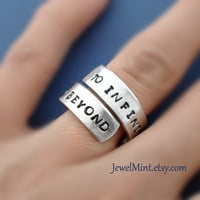 To infinity and beyond, Custom Ring, Personalized metal Ring, Infinity ring, Best friend gifts, Twist ring, wrapped ring, Adjustable ring