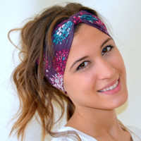 jersey headband - floral stretchy headband yoga headband ear warmer birthday gifts christmas gifts