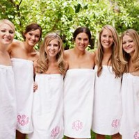 Monogrammed Wedding Party Bridesmaids Spa Wrap with Circle Monogram
